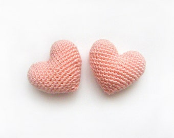Amigurumi Crochet Pinkish Orange Heart (Set of 2) - Cake topper - Wedding table decor - Birthday party decoration