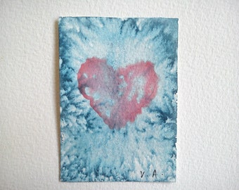 Heart Aceo Painting Original Aceo Watercolor Miniature Painting Artist Trading Card OOAK Aceo Handmade Gift Hand Painted Aceo Valentine's