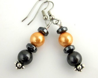 Orange and Grey Bicolor Glass Bead Earrings, Fashion Jewelry, Gifts, Mother's Day, Easter, Wedding Jewelry