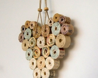 Recycled Paper Heart 4x4 Neutral/Natural Shades, Handmade