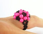 Neon Pink & Matte Black GlowBerry Ring: Swarovski crystal pearl and seed bead ring Size 6.5 Ready to Ship