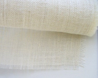 90 X 12 Inches Table Runner White Burlap Table Runner Jute Wedding Table Decor Home Decor Rustic Wedding Cream Ivory