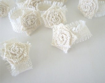 White Burlap Napkin Rings With Rolled Rose Embellishment