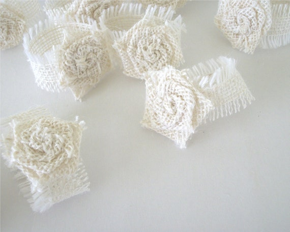 White Burlap Napkin Rings With Rolled Rose by TraditionalByNature