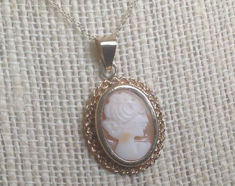 "PRICED TO SELL Vintage European Solid 8k Yellow Gold Oval Shell Cameo Pendant with 18 1/2"" Solid 10k Yellow Gold Chain - Etsy andersonhs"