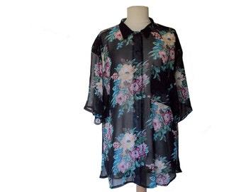 80's Sheer Floral Blouse Oversize