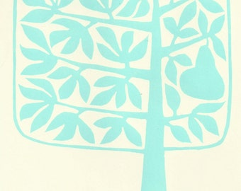 Pear tree lino print - pale green/blue