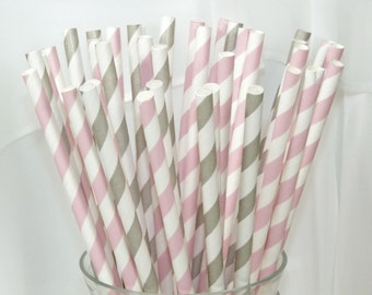 50 Strawberry Ice Cream and Silver Spoon Social  assorted Paper Straws in Pink Strawberry and Silver Spoon Grey Stripe