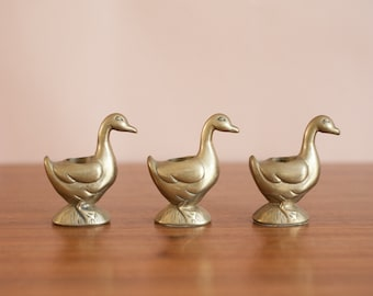 Solid brass duck candle holders, set of 3, Hollywood Regency, mid century modern candlesticks, vintage Easter decor