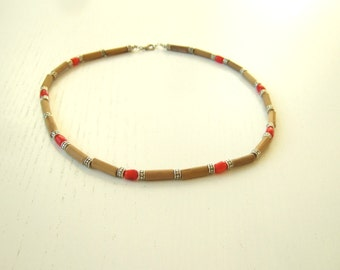 XMAS SALE! MEKONG - Beige & red necklace for men with bamboo and coral beads