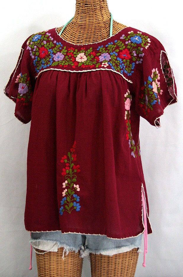Embroidered mexican peasant top blouse lijera