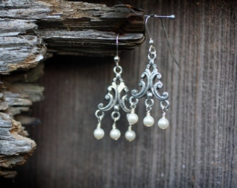 Swarovski Pearl and Pewter Chandelier Earrings with Sterling Silver Ear Wires