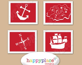 Red Pirate Silhouette Wall Art Poster Set 8x10 or 11x14in for Nursery or Child Bedroom Decor for INSTANT DOWNLOAD
