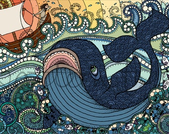 Art Print, 'Jonah' - Hand Drawn and Digital. 8.3 x 11.7 inches, 21 x 29.7cm (A4) Intricately Patterned Nautical Illustration.