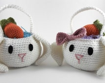 Crochet Easter Baskets with Carrot Egg Cozies, Set of 2 Floppy Ear Bunny Baskets, Easter Bunny Baskets, Easter Decorations