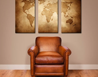 CANVAS // Vintage World Map //  Large Canvas Art, Large Wall Decor, Home Decor, Vintage Art, Modern Home Decor, Wanderlust, Map, Globe