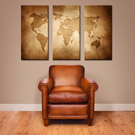 Large World Map Art Vintage World Map Canvas