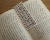 Handstitched flower bookmark with paper backing OOAK