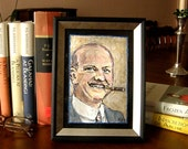 Portrait of P.G. Wodehouse, Black and Gold Frame.