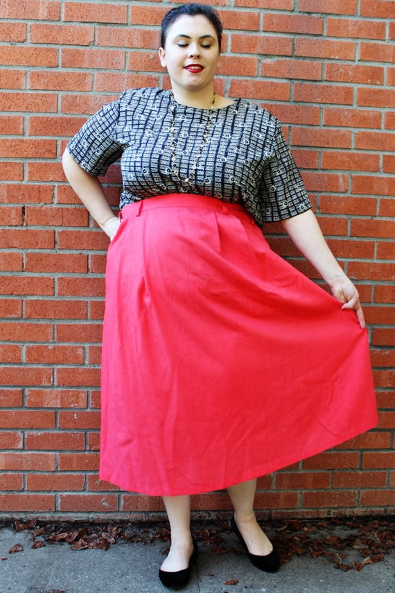 Plus Size Vintage Coral Pleated Front Midi Skirt Size 18