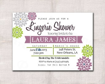 Lingerie Party Invitation custom printable 5x7