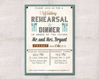 Wedding Rehearsal Dinner Invitation custom printable 5x7