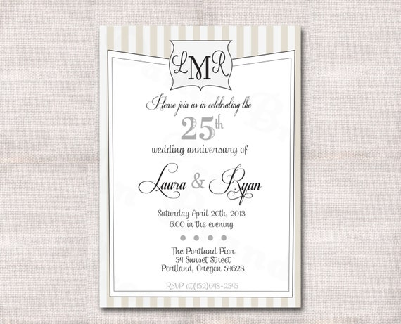 Monogram Wedding Anniversary Custom Printable Invitation 5x7