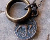 Roman Solid Bronze Elephant Necklace and Antique African Brass Ring