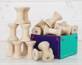 Wooden Spools - 6 Medium Wood Spools - Unfinished -1-15/16th x 1-3/8th  - Medium Wood Spools - Wood Spools for Twine
