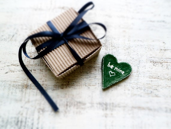 50% OFF Sap green, mossy green heart magnet love message Valentines day decor, Valentine gift