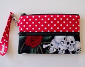 Skull and Roses with Red Polka Dot Gadget Pouch or Pencil Pouch Wristlet