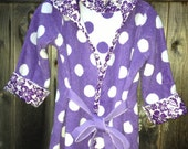 Beach Bath Robe Child Toddler 4T-5T Made from Extra Thick Lavender Polka Dot Purple Terry Towel with Hood Tropical Floral Trim - Cover Up
