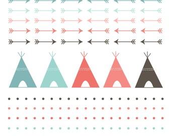 60% OFF SALE  Digital Clip Art  Teepee Tent  Digital Borders  Navaho Clipart  Arrows, Polka Dots, Indian