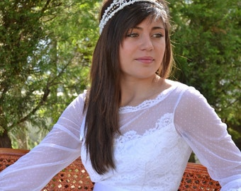 Bridal Accessories White Lace Wedding Headband With Gravel Coral Beads Rhinestones and Satin Ribbon Hair Accessories - Handmade Accessories