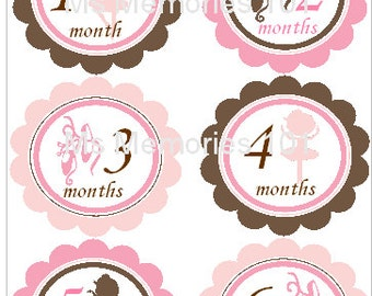 Sale~ Ballerina Style B Monthly Infant Stickers