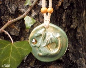 Dragon medallion in green and gold with orange Swarovski crystal, polymer clay pendant with golden powder, OOAK fantasy Celtic fairy jewelry