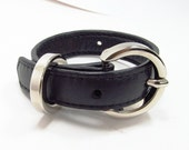 Gray leather wrap bracelet with chrome buckle