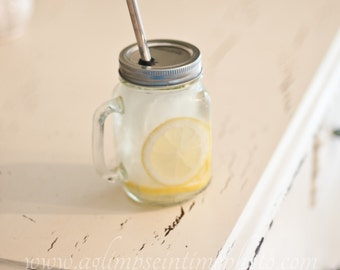 Handled Mason Jar To Go Cup With Stainless Steel Straw 16oz Eco Friendly