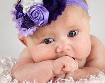 Purple & Lavender Baby Headband, Girl Headband,  Baby girl Headband, newborn headband,