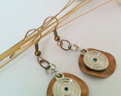 Hammered Copper and Silver Dangle Earrings Handmade