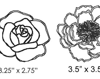 Machine Embroidery Design - Peony & Rose Outline - Immediate Download