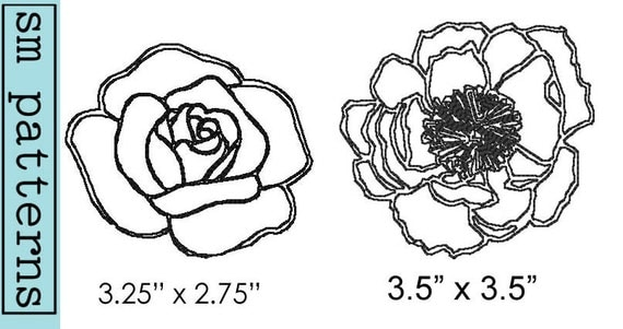 Machine embroidery design peony rose outline immediate