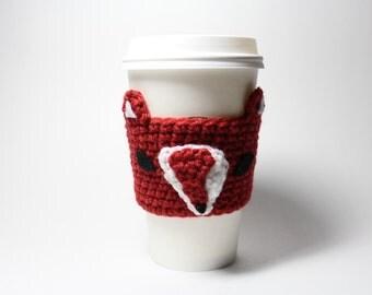 Fox Coffee Cozy, Coffee Sleeve, Woodland Animal CanHolder, Crochet Drink Cup Holder, Java Jacket