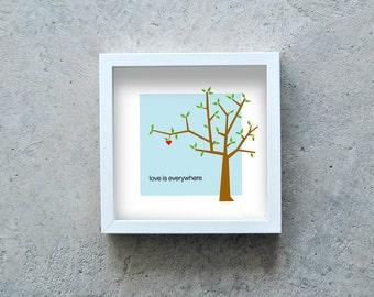 Love art print, love present, Print illustration, tree, red heart, art print poster graphic square Love is everywhere, minimal art poster