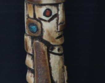 ON SALE! Rare Calero Hand Carved From Llama Bone