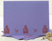 cat note cards, kitty cards set of 4, 4 designs, hand stamped greeting cards