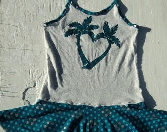 Palm Trees & Hearts GLITTERY TWIRLY Upcycle Dress Size 6-7