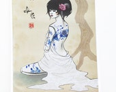 """China doll series -- 8x10 """"Blue China"""" fine art print, drawing of a tattooed porcelain doll, spring themed, Asian, Oriental art"""