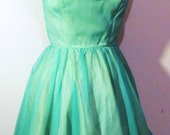Vintage Cocktail Dress, Party Dress, Vintage Fifties Dress in Chiffon and Taffeta