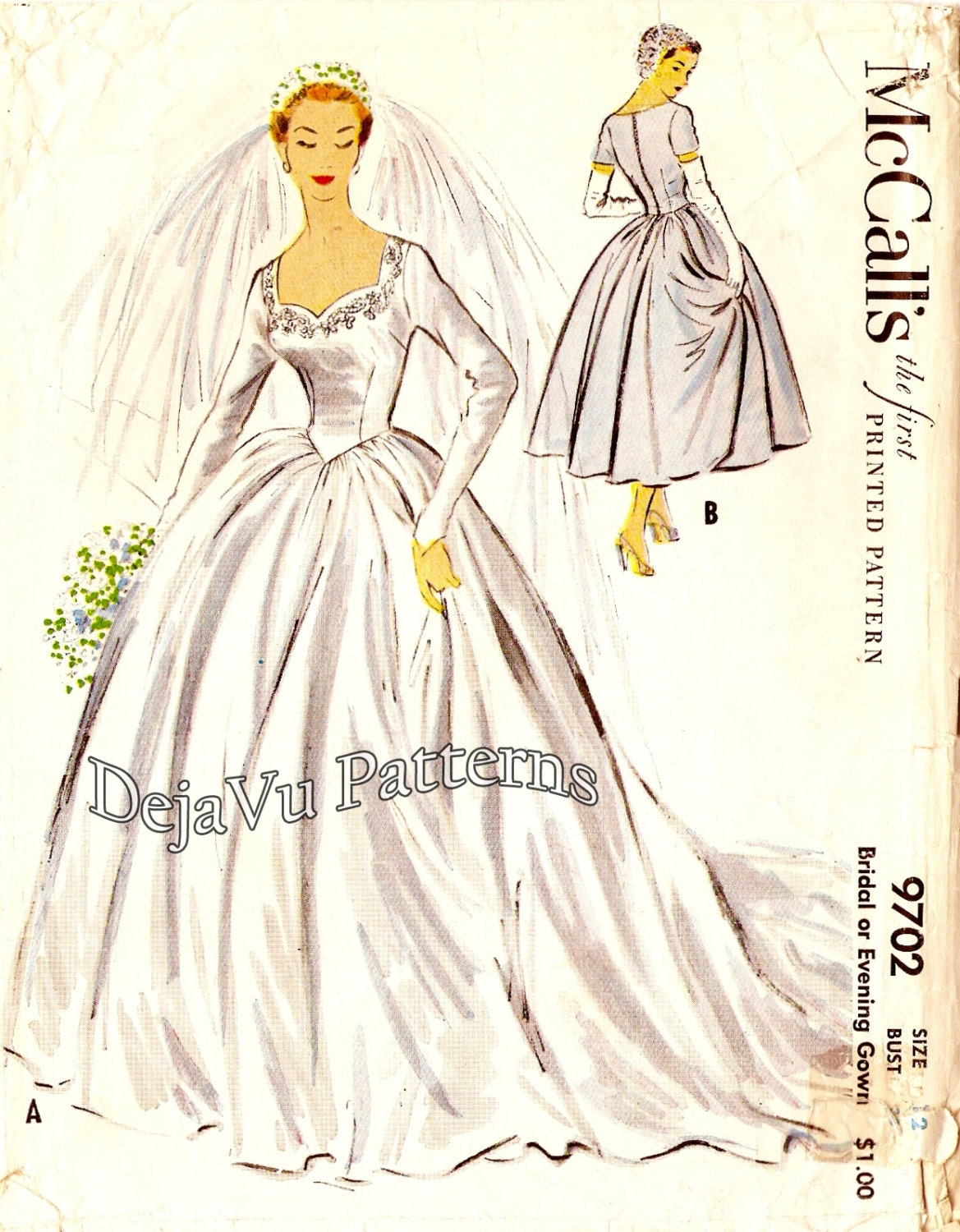 Mccalls 9702 1950s bridal gown wedding dress pattern sz 12 for Wedding dress patterns vintage
